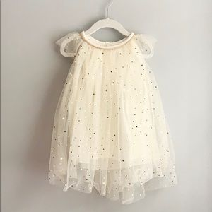 Toddler Girl Tulle And Fold Star Dress